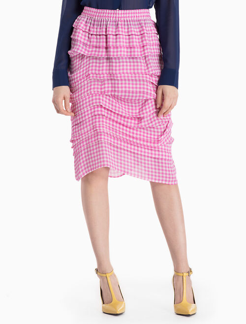 CALVIN KLEIN MULTI-TIERED HIGH LOW WOVEN SKIRT