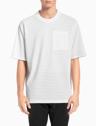 CALVIN KLEIN SHEER STRIPED TEE