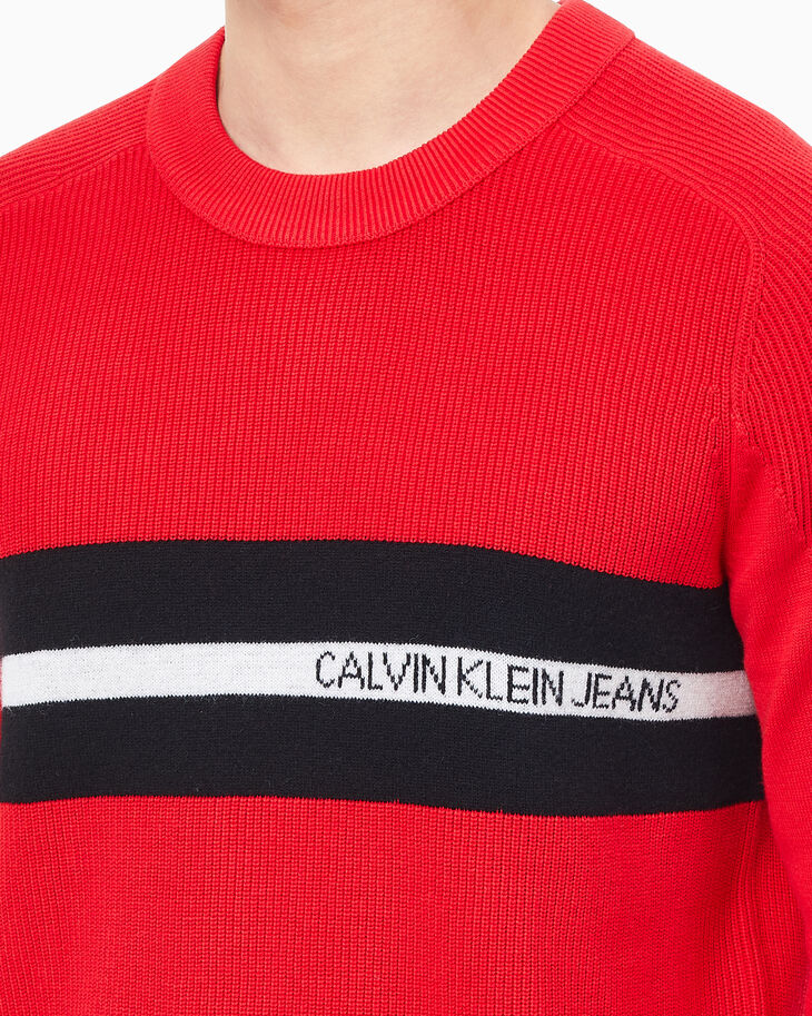CALVIN KLEIN LOGO TAPE PULLOVER SWEATER