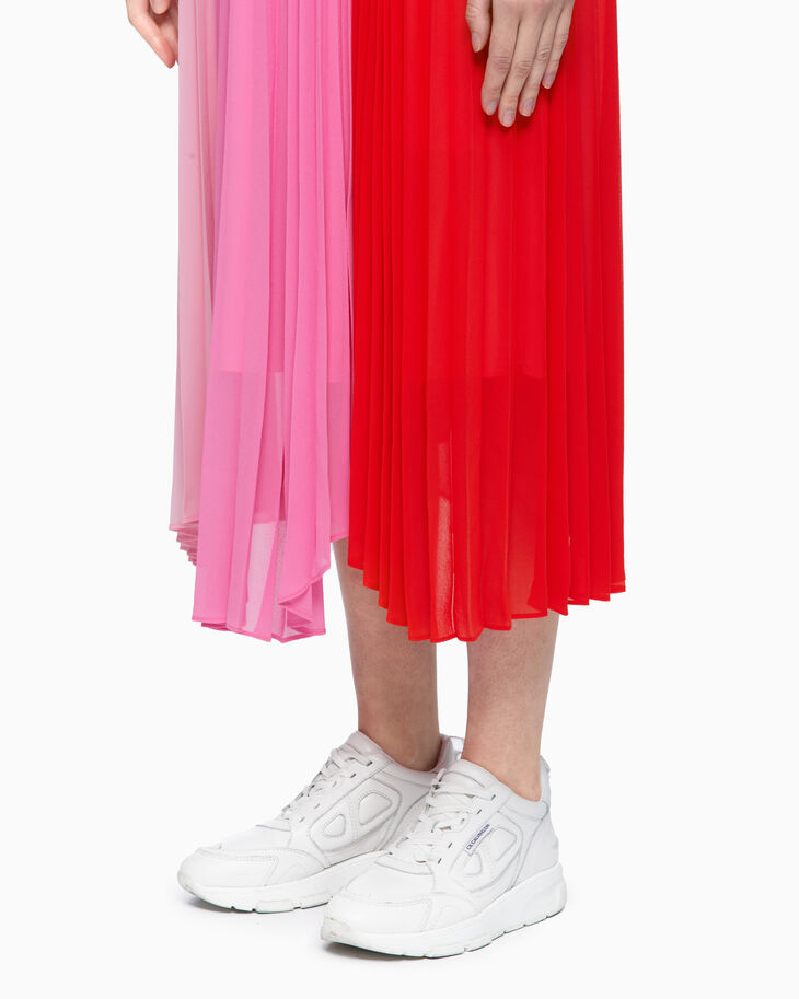 CALVIN KLEIN COLOR BLOCK PLEATED SKIRT