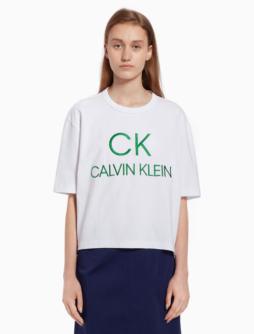 CALVIN KLEIN Logo knit short sleeve top