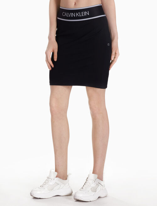 CALVIN KLEIN KNIT SKIRT WITH LOGO WAISTBAND