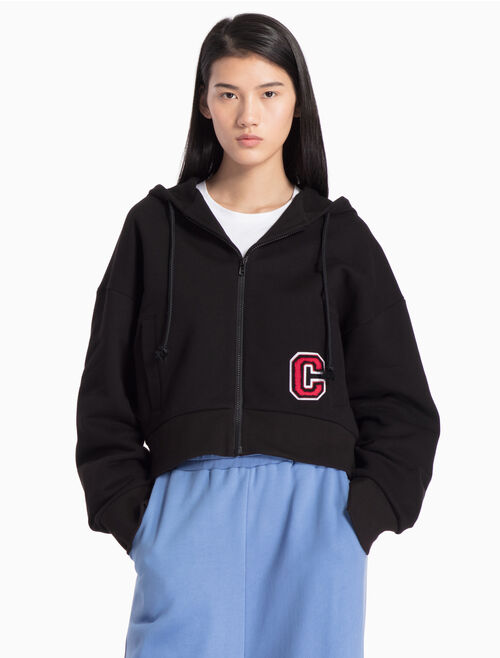CALVIN KLEIN CROPPED KNITTED LOGO JACKET