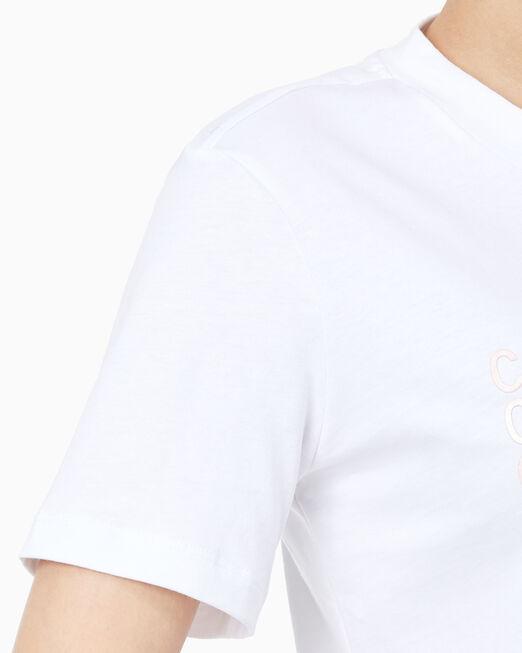CALVIN KLEIN 여성 메탈릭 멀티 로고 반팔 티셔츠