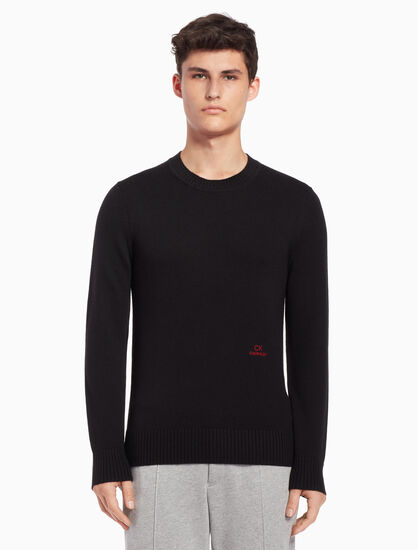 CALVIN KLEIN Logo embroidery pullover sweater