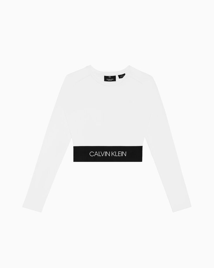 CALVIN KLEIN ACTIVE ICON LOGO CROPPED ロングスリーブ T シャツ