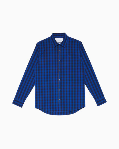 CALVIN KLEIN GINGHAM PLAID COTTON SLIM SHIRT