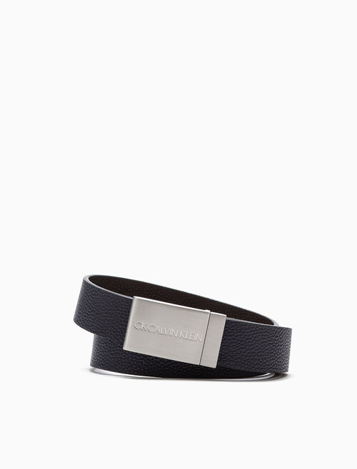 CALVIN KLEIN ENGRAVED LOGO PLAQUE BELT