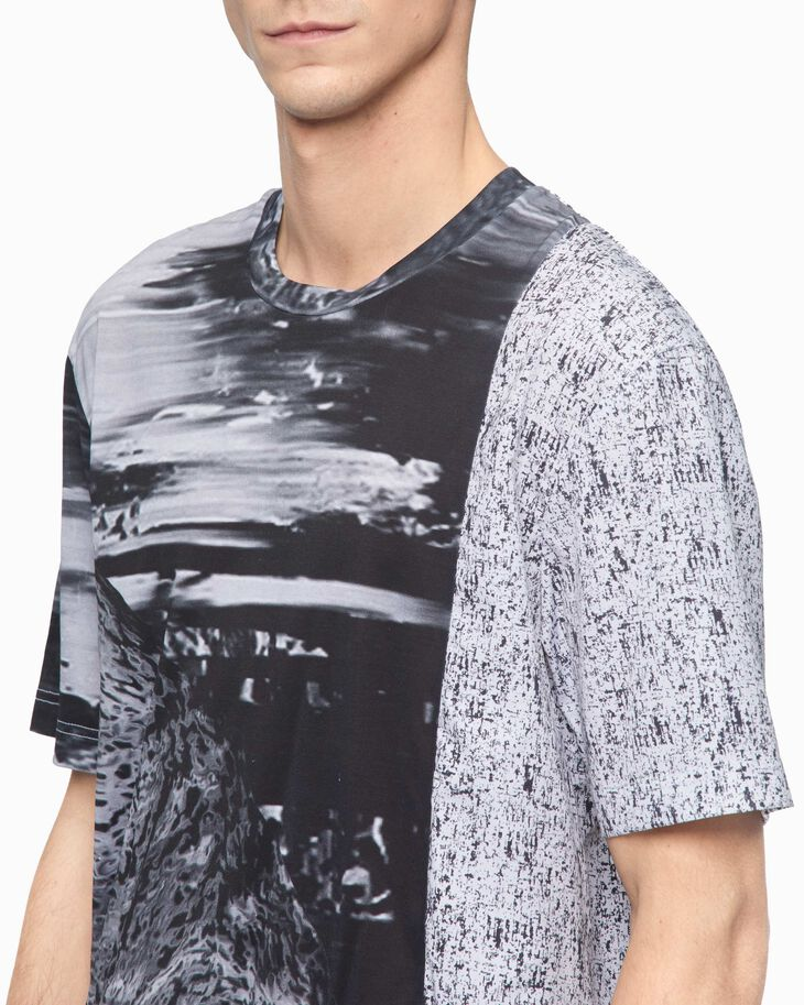 CALVIN KLEIN ALL OVER PRINT MULTI-FABRIC TEE
