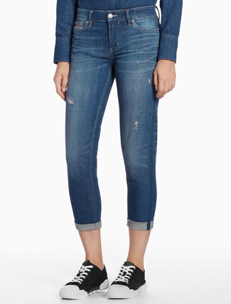 CALVIN KLEIN DISTRESSED STRAIGHT SELVEDGE JEANS