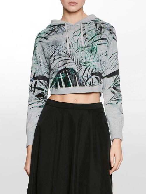 CALVIN KLEIN ALLOVER PRINT CROPPED PULLOVER WITH HOOD