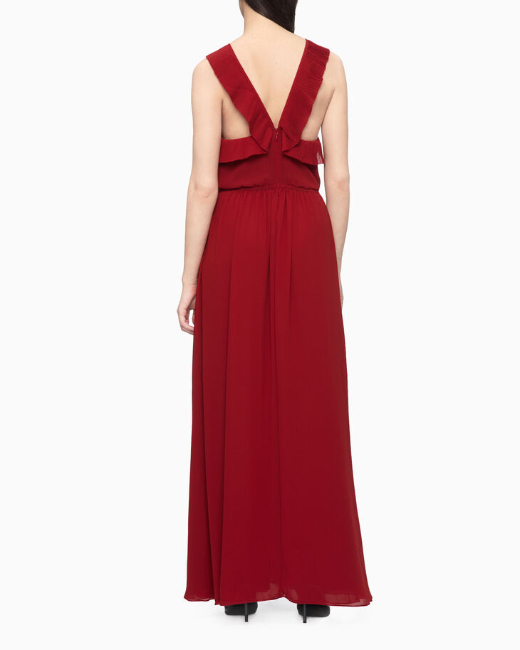 CALVIN KLEIN PLEATED FRILL MAXI DRESS