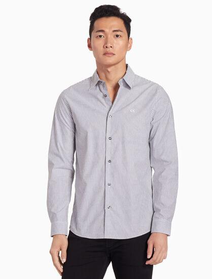 CALVIN KLEIN 핀스트라이프 포플린 셔츠