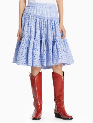 CALVIN KLEIN WOVEN RUFFLED SKIRT WITH BRODERIE ANGLAISE