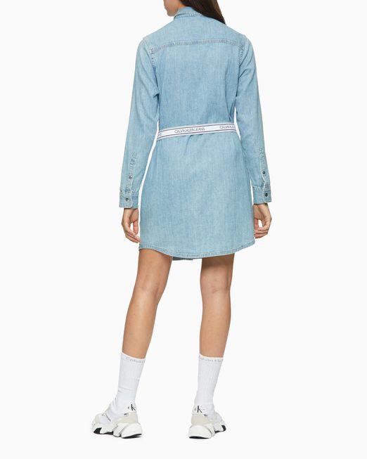 CALVIN KLEIN 여성 라이트 블루 벨티드 데님 드레스