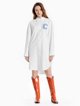CALVIN KLEIN WOVEN LOGO SHIRT DRESS