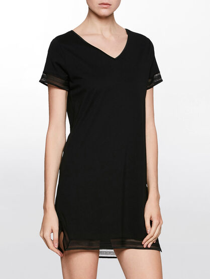 CALVIN KLEIN FLOAT NIGHT SHIRT V NECK DRESS