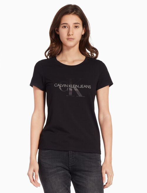 CALVIN KLEIN サテン モノグラムロゴ T シャツ