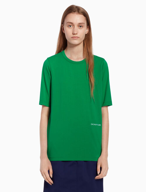 CALVIN KLEIN Logo knit top with short sleeves