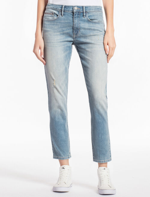CALVIN KLEIN ROSS Distressed SLIM STRAIGHT SELVEDGE JEANS