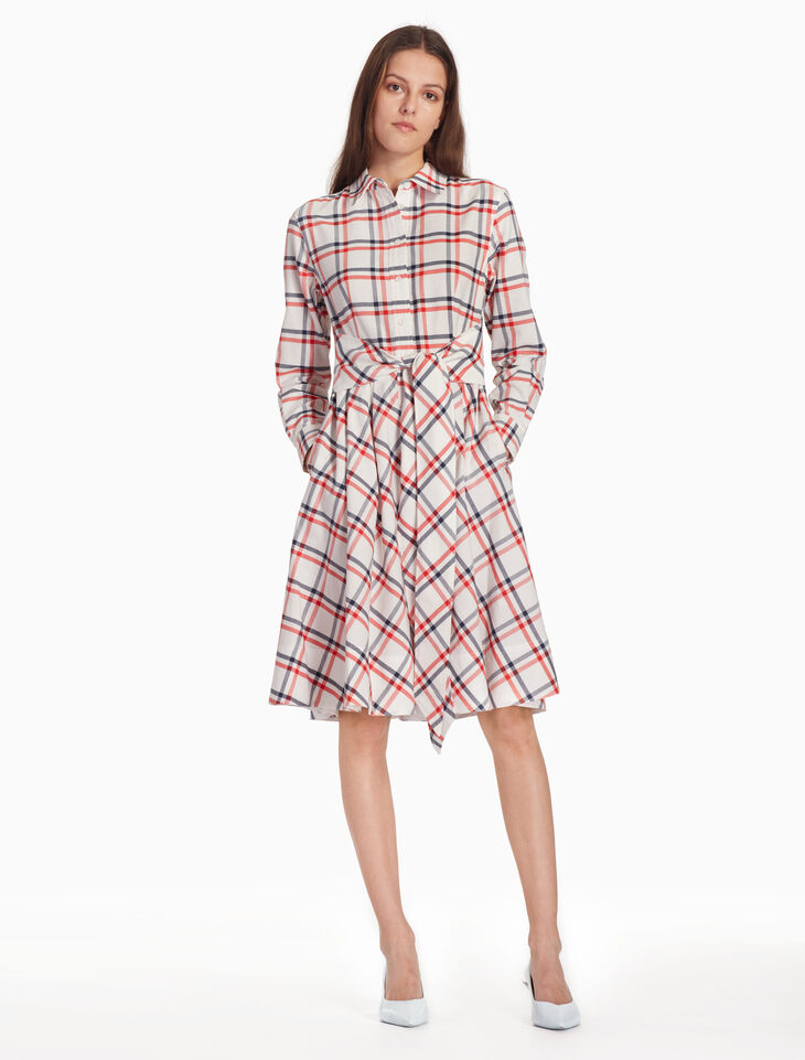 CALVIN KLEIN CHECK SHIRT DRESS