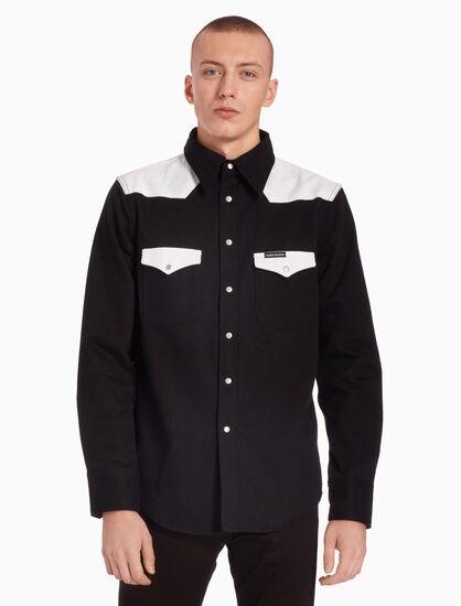 CALVIN KLEIN 西部風格撞色修身襯衫