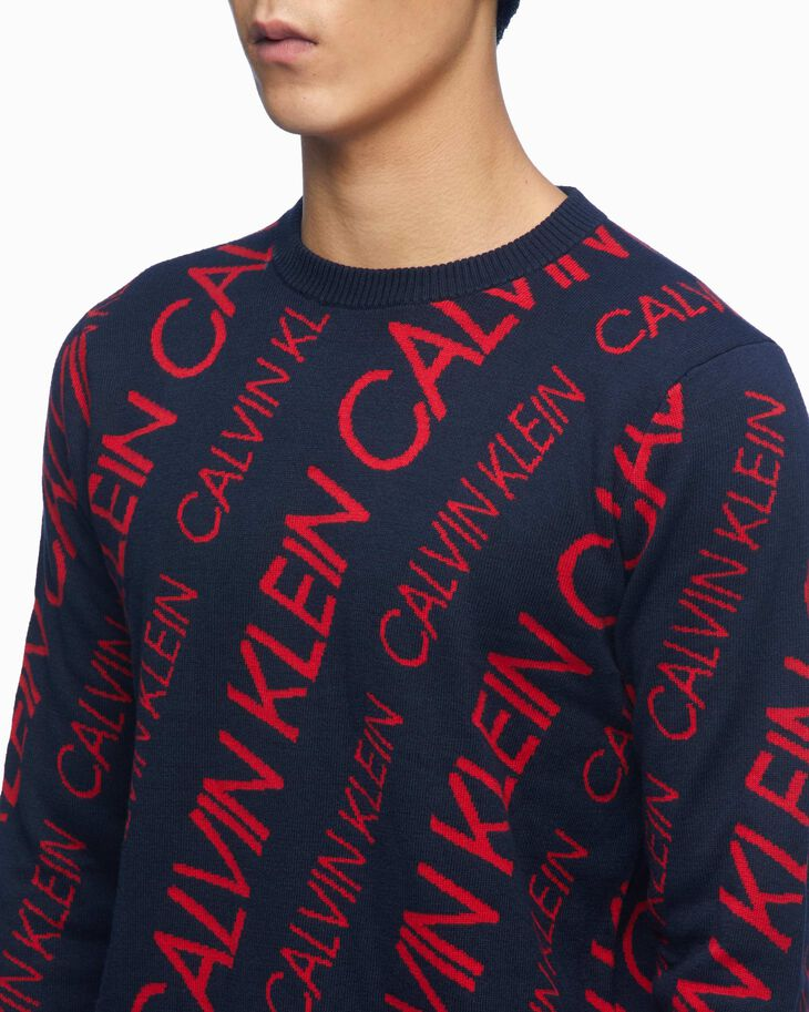 CALVIN KLEIN WOOL BLEND LOGO PULLOVER SWEATER