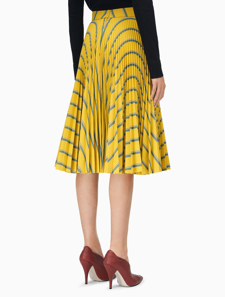CALVIN KLEIN 多條紋重磅斜紋布百褶裙