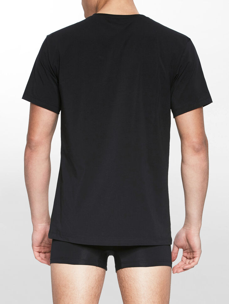 CALVIN KLEIN CK BLACK COTTON V-NECK SHORT SLEEVES TOP