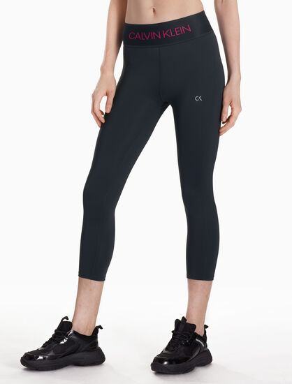 CALVIN KLEIN CROPPED LEGGINGS WITH LOGO WAISTBAND
