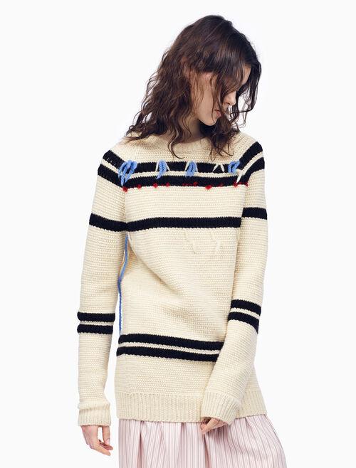 CALVIN KLEIN DECONSTRUCTED 條紋針織套頭毛衣