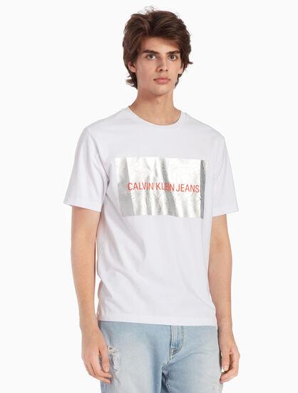 CALVIN KLEIN INSTITUTIONAL SILVER LOGO 티셔츠