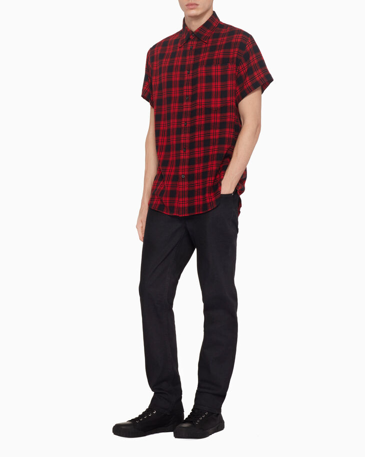 CALVIN KLEIN PLAID SHORT SLEEVE SHIRT