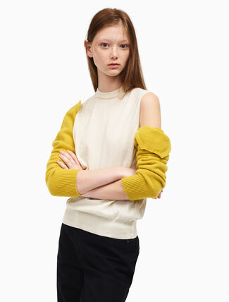 CALVIN KLEIN detachable sleeve crew neck top