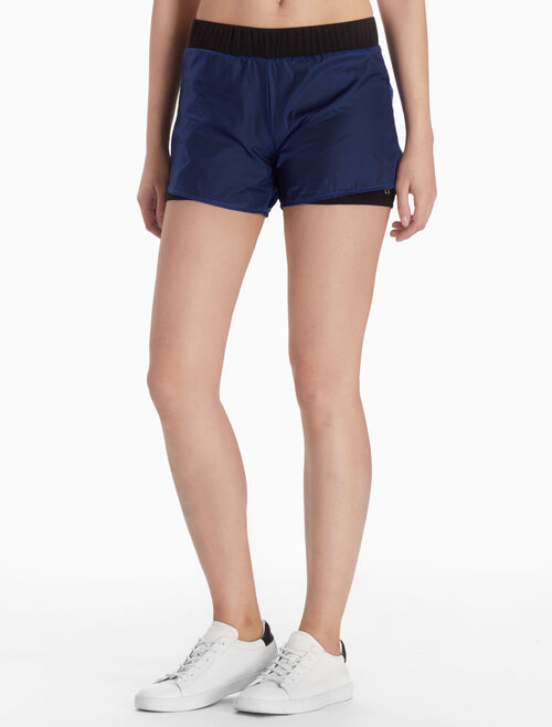 CALVIN KLEIN TWO-LAYERED WOVEN SHORTS