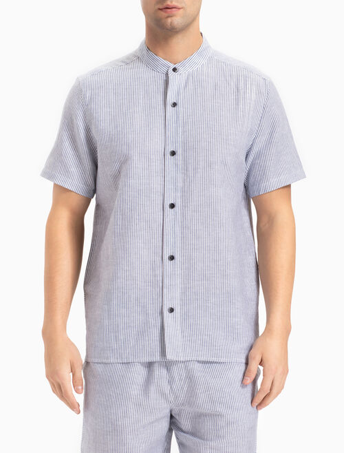 CALVIN KLEIN COTTON LINEN BUTTON-DOWN 上衣