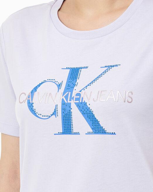 CALVIN KLEIN 여성 모노그램 로고 스트레이트 핏 반팔 티셔츠