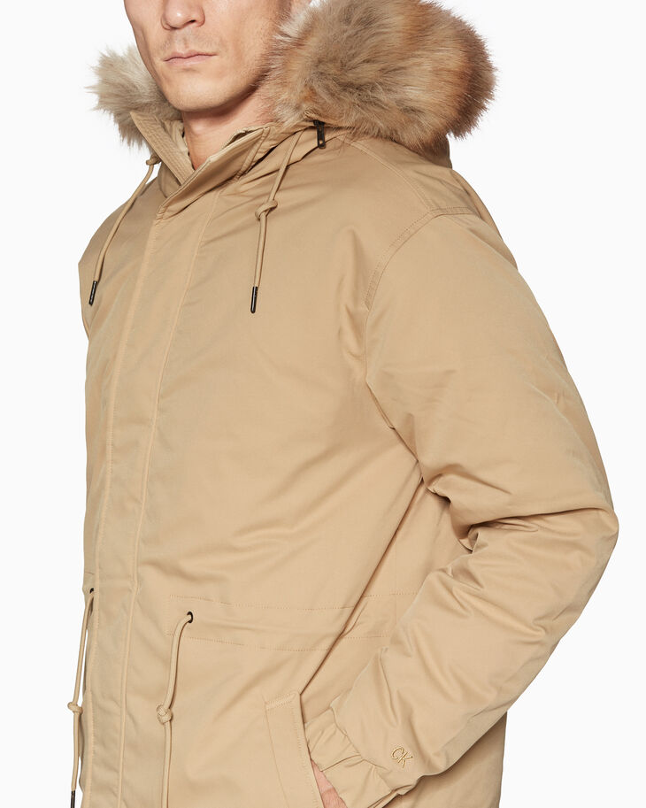 CALVIN KLEIN GOOSE DOWN LONG 트윌 재킷
