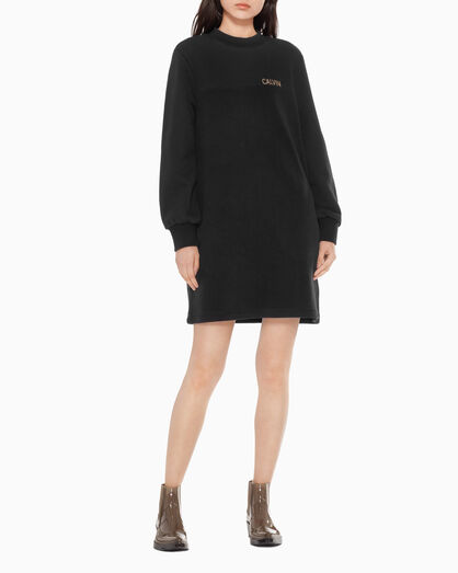 CALVIN KLEIN HERRINGBONE LOGO SWEATSHIRT DRESS