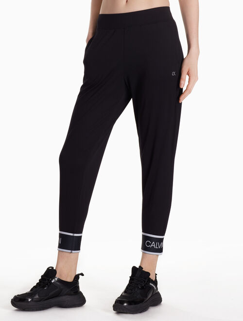 CALVIN KLEIN KNIT CROPPED PANTS WITH LOGO CUFFS