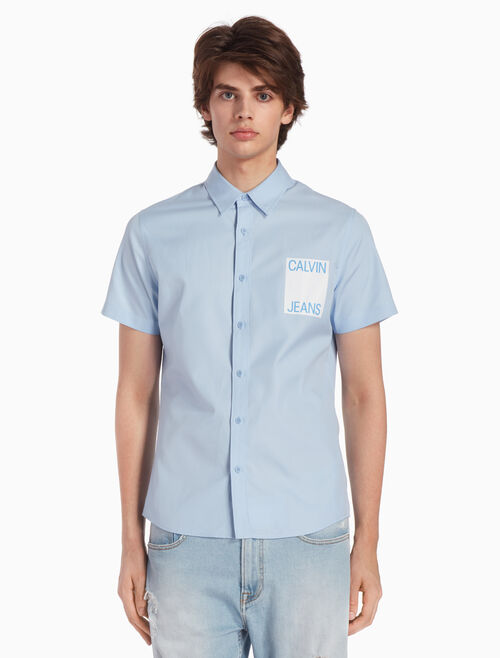CALVIN KLEIN WOVEN LOGO BOX OXFORD SHIRT