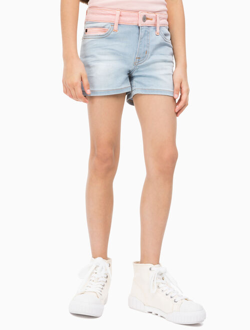 CALVIN KLEIN GIRLS MID RISE CONTRAST SHORTS