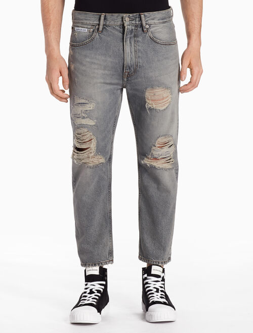CALVIN KLEIN CKJ 035 MEN STRAIGHT DESTRUCTED CROPPED NOVATO GREY JEANS