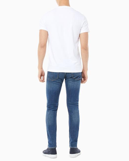 CALVIN KLEIN 남성 인스티튜셔널 메탈릭 로고 반팔 티셔츠