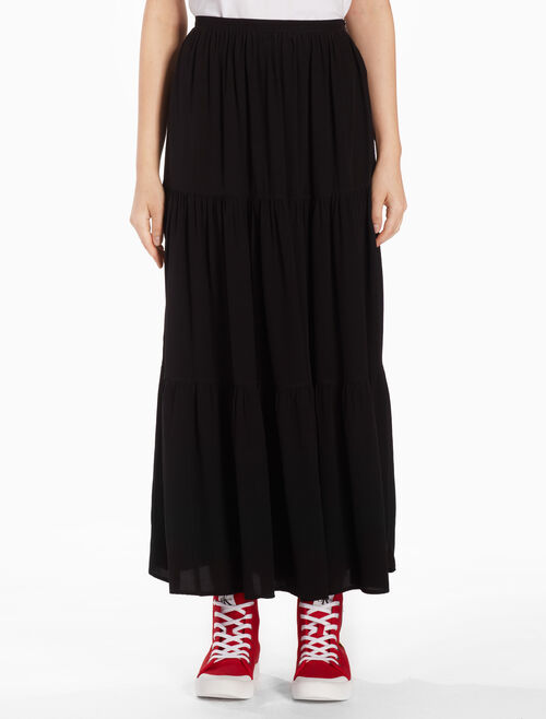 CALVIN KLEIN WOVEN MIDI SKIRT WITH GATHERS