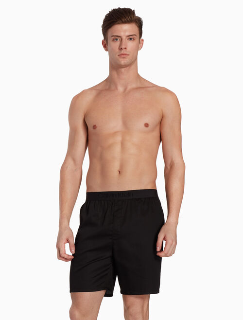 CALVIN KLEIN CK BLACK COTTON SATEEN SHORTS