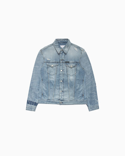 CALVIN KLEIN FOUNDATION DISTRESSED DENIM JACKET