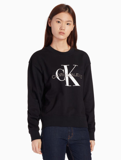 CALVIN KLEIN 모노그램 로고 풀오버 스웨트셔츠