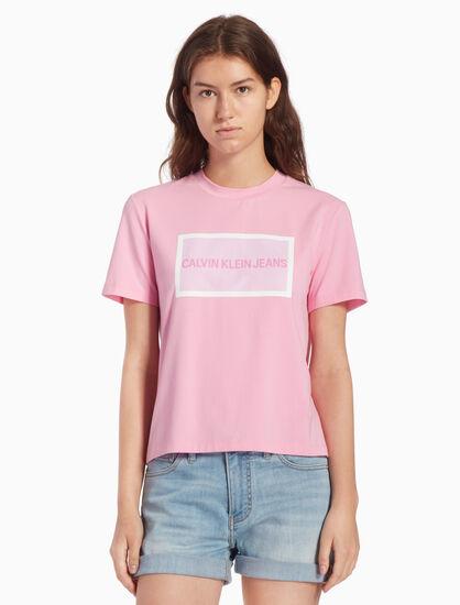 CALVIN KLEIN 인스티튜셔널 메시 로고 박스 티셔츠