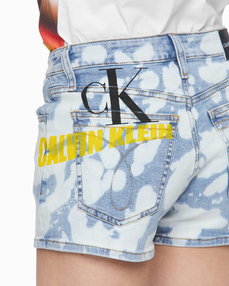 CALVIN KLEIN BLEACHED GRAFFITI DENIM SHORTS